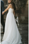 Fairy A-Line V Neck Sleeveless Chiffon Beach Wedding Dresses With Button Simple Bridal STGP6DZLT86