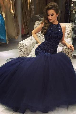 Mermaid Navy Scoop Sleeveless Prom Dress with Beading
