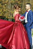 A Line Scoop Prom Dresses Long Sleeves Satin With Applique P8NPLHY4