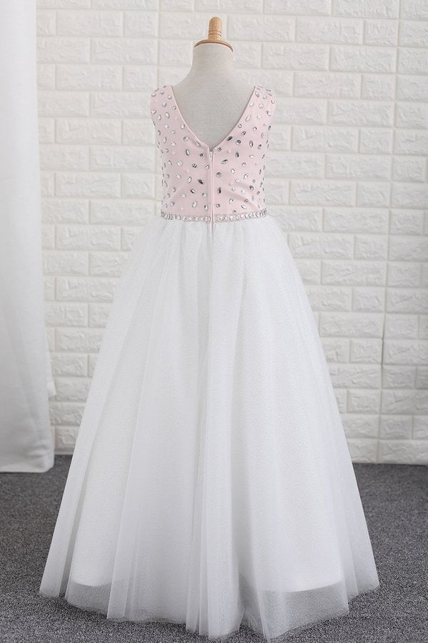 Flower Girl Dresses Scoop With Beading A PBJ8F9YP