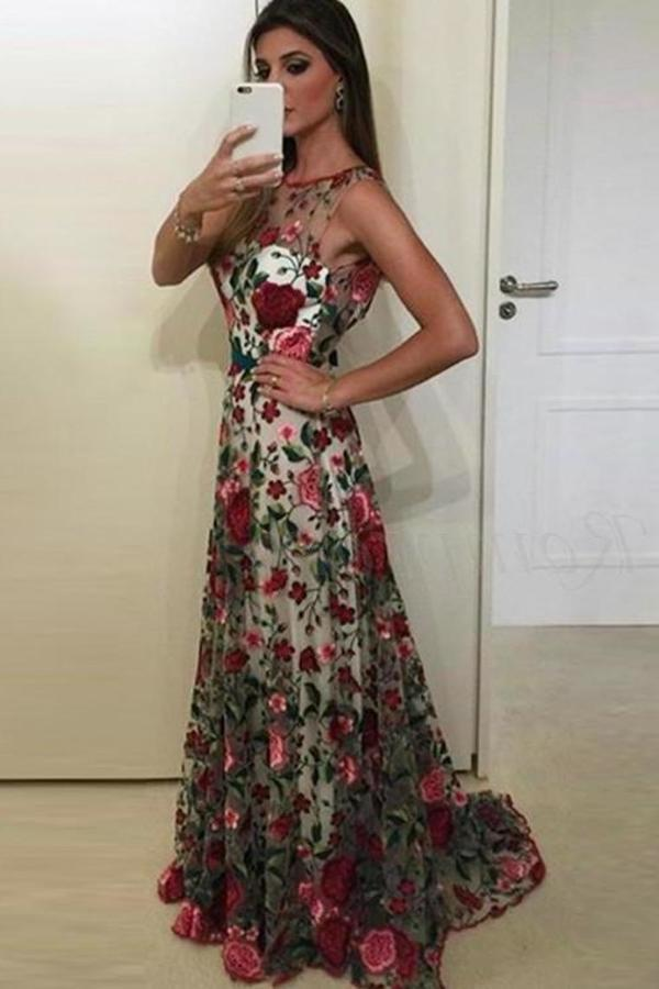 Beautiful Prom Dresses Scoop Aline Rose Floral Embroidery Lace PGCESXH5