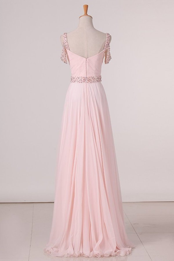 2020 A Line Straps Chiffon With Ruffles And Beads Prom PMEBCCKT