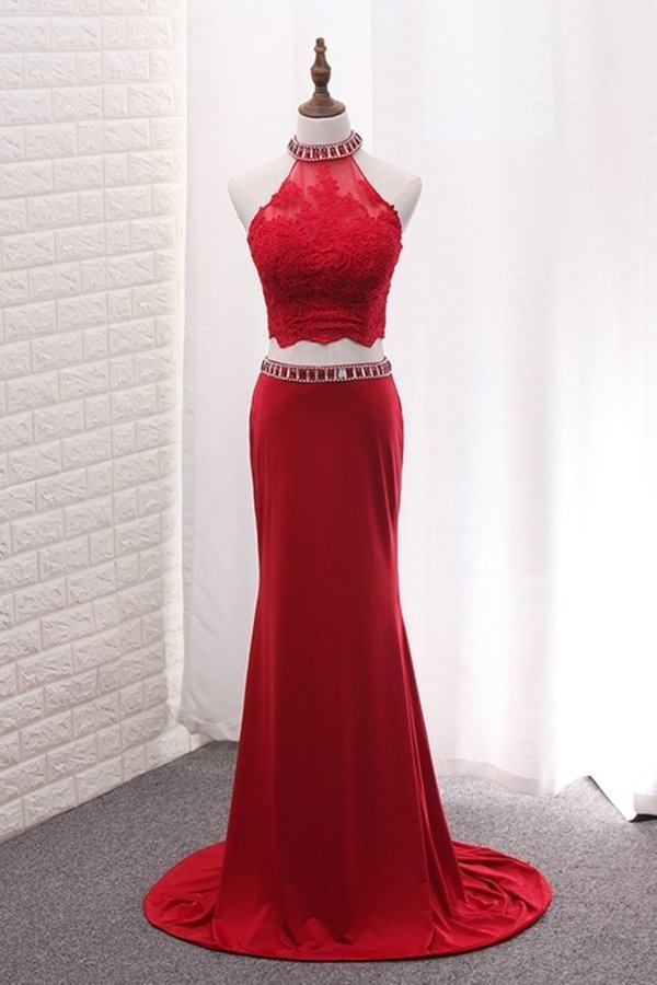 High Neck Spandex Two Pieces Prom Dresses With Applique And Beads PEYX921K