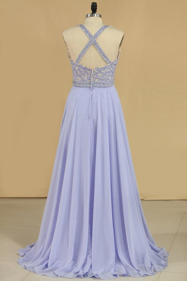 A Line V Neck Prom Dresses Chiffon With Applique PXCPFMFY