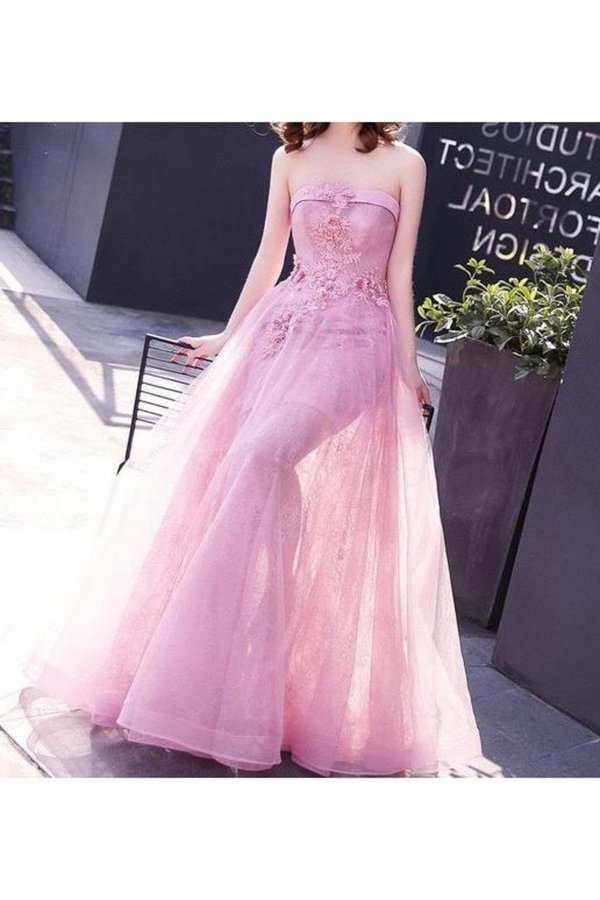 A Line Strapless Tulle With Applique Floor Length Prom Dresses PFCM6ERM