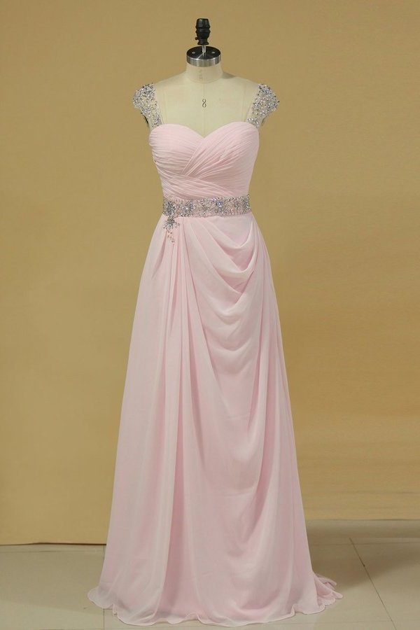 Chiffon Off The Shoulder A Line Prom Dresses With Ruffles And PXSRT5KH