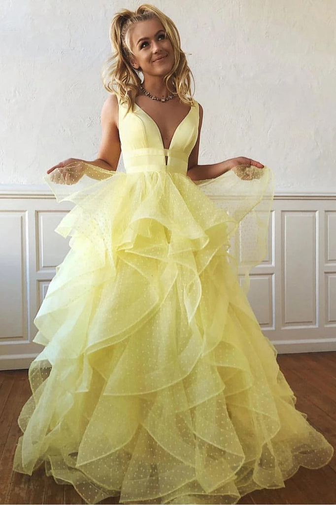 A Line Yellow Multi-layered Polka Dot Organza Prom Dresses Long Sweet 16 STG20388