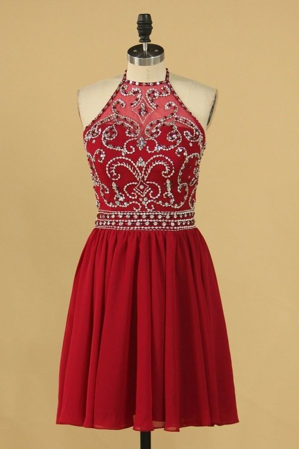 Halter With Beading Homecoming Dresses Chiffon A PQPDK9T8