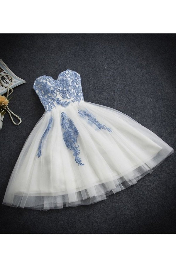 A Line Sweetheart Tulle With Applique Short/Mini PX7CZ5FH
