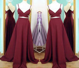 Two Piece Straps Long Prom Dress Evening Dress Spaghetti Straps Wine Red Prom Dresses