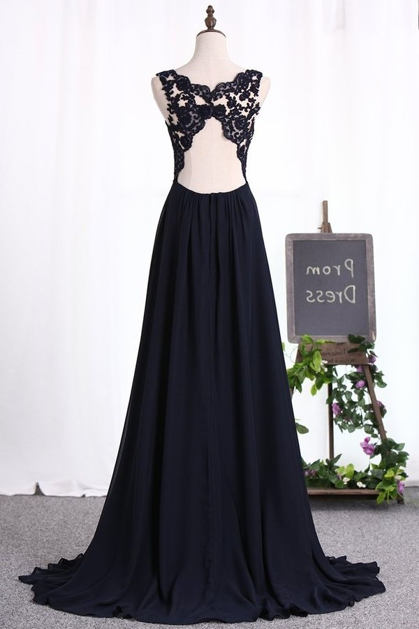 A Line Prom Dresses V Neck Chiffon With Applique PCG69SM5