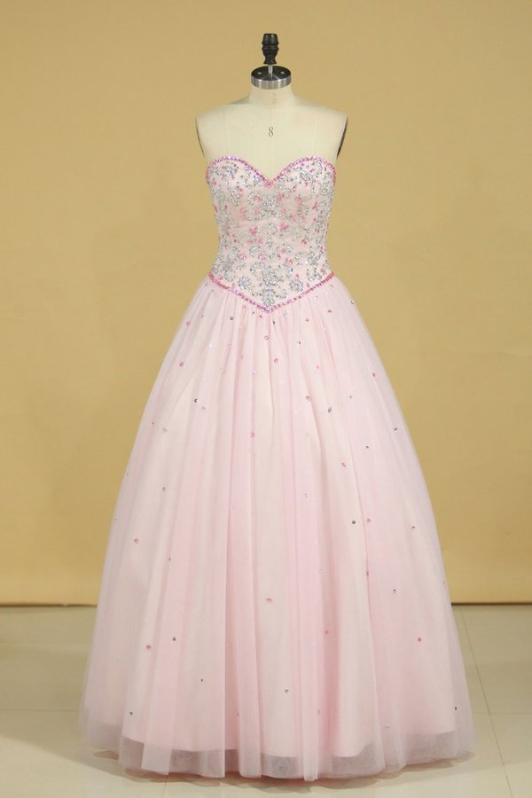 Sweetheart Ball Gown Quinceanera Dresses Tulle With Beads And PD9HAHR