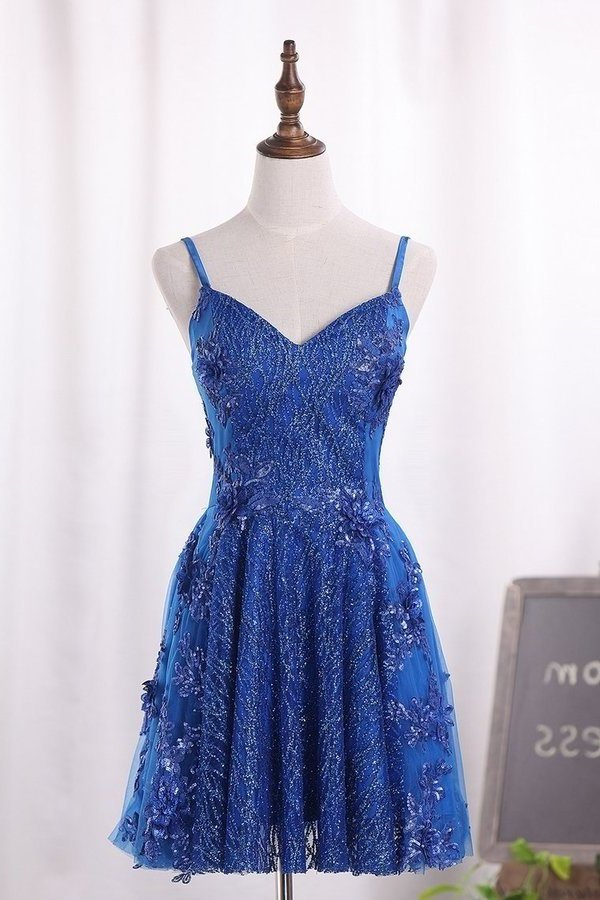 A Line Spaghetti Straps Tulle Homecoming Dresses With Beads P2X5XZDJ