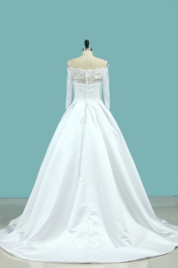 Boat Neck Wedding Dresses Mid-Length Sleeves Satin P62F99QB