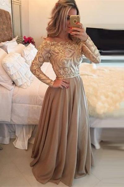 Hot Selling A-Line Cowl Floor Length Gold with Long Sleeves Prom Dresses