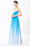 Ombre Spaghetti Straps A-Line Chiffon Blue Lace up Sweetheart White Prom Dresses