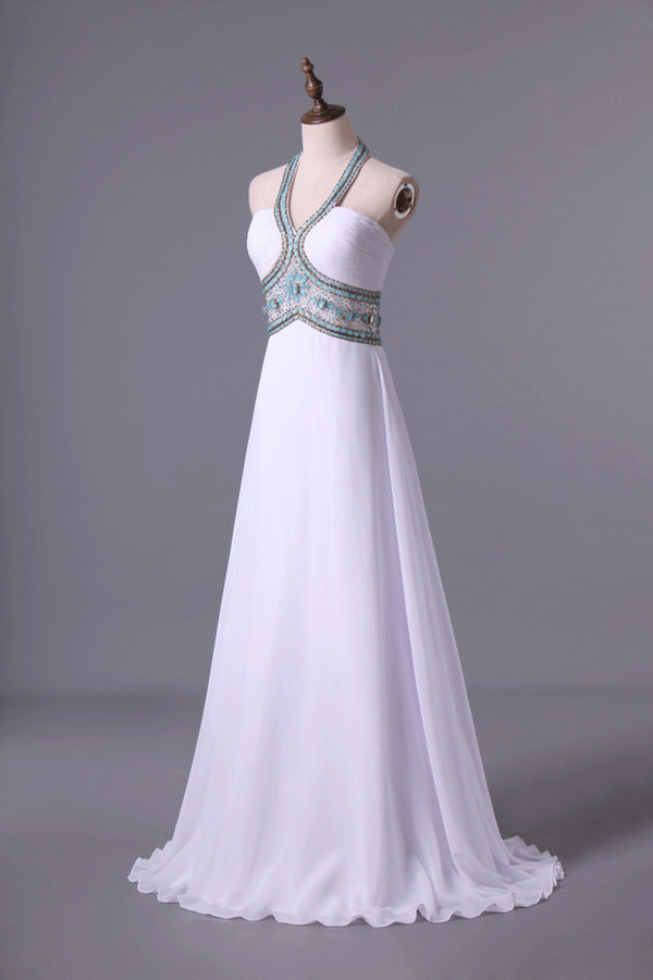 Halter Prom Dress A-Line Pick Up Long Chiffon Skirt With Crystal Beading And PG437B7T