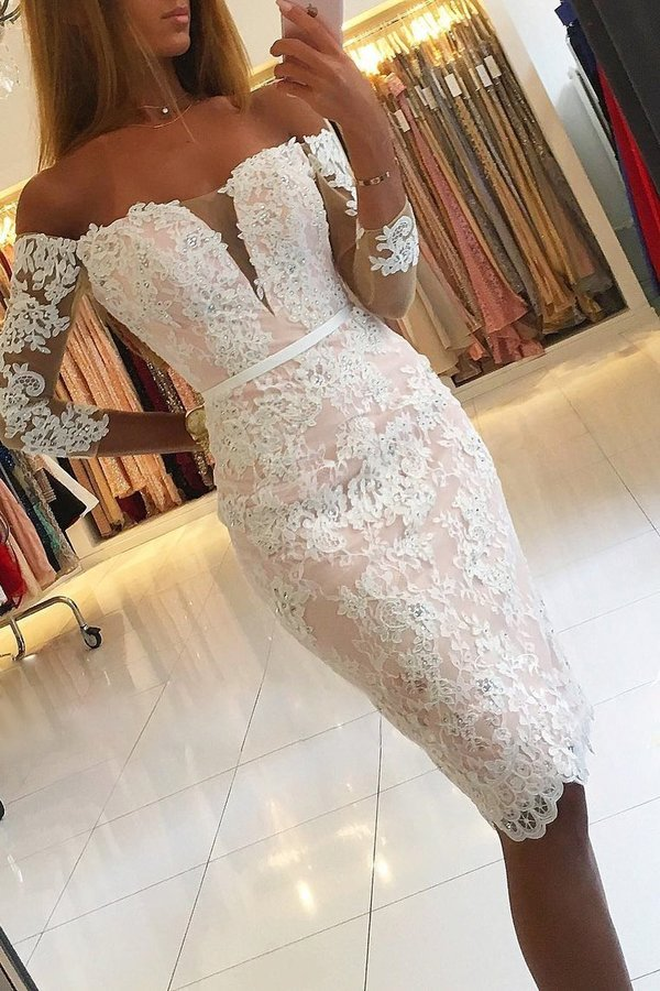 2020 Boat Neck Homecoming Dresses Lace With Applique And P7A7MBDN