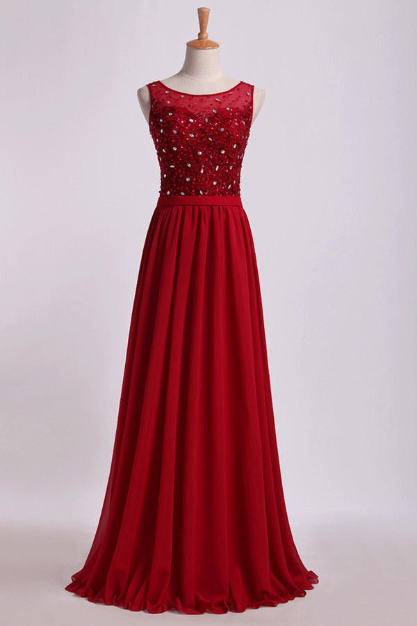 Bateau Prom Dresses A Line Floor Length With Embroidery&Beads PBLFJL5F