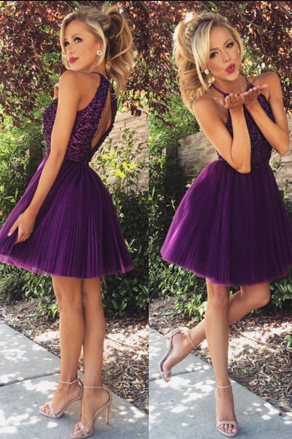 Halter Homecoming Dresses A-Line Tulle Short/Mini Beaded PED1GAYB