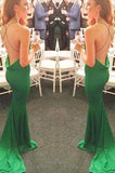 New Style Mermaid Backless Prom Dresses Elegant Green Open Back Evening Gowns For Teens