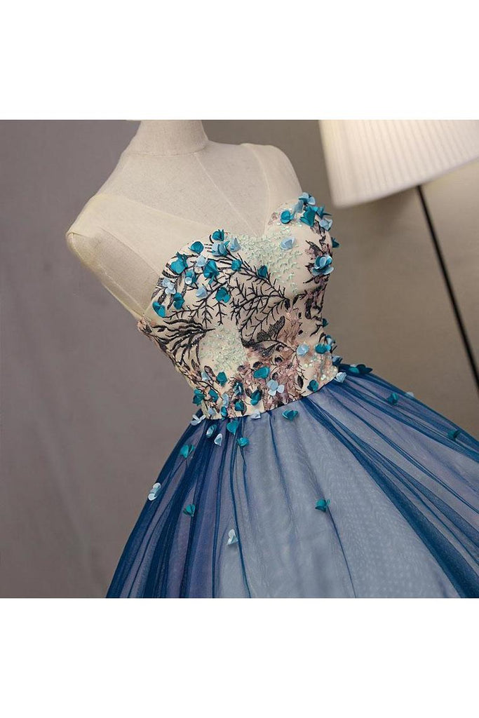 Ball Gown V Neck Sleeveless Appliqued Tulle Prom Dress Hot Quinceanera STGP46YC47P