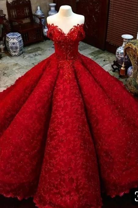Ball Gown Red V Neck Long Off the Shoulder Prom Dresses, Quinceanera Dresses STG15563
