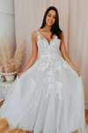 Romantic V Neckline Backless Wedding Dress Appliqued Ball Gown Bridal STGPSMCZA6Q