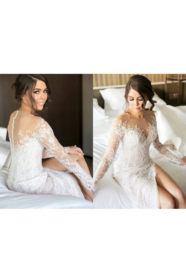 Scoop Long Sleeves Lace With Slit Wedding Dresses P3KMRKC8