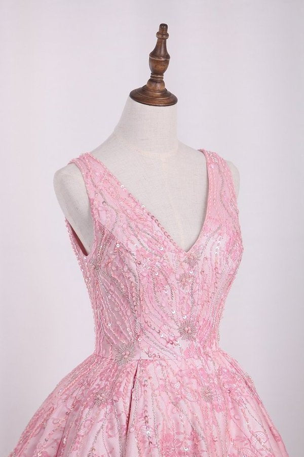 A Line Homecoming Dresses Lace V Neck With Beading Above PFY47YHH