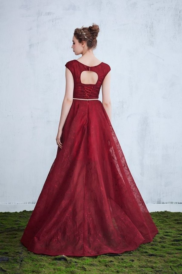 A-Line Bateau Lace Prom Dresses With Applique And PBLRDN95