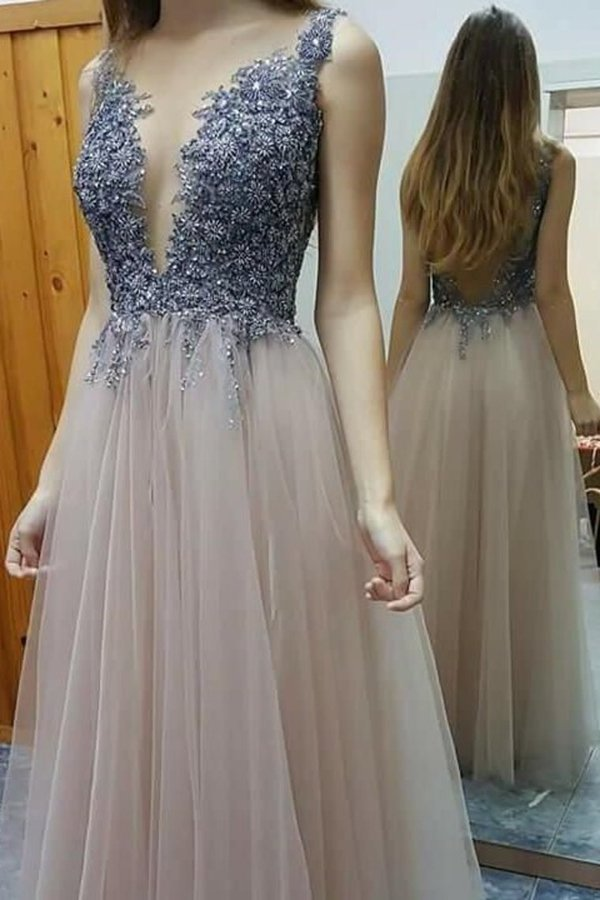 Deep V-Neck Open Back A Line Prom Dresses Beaded Bodice PX4585R9