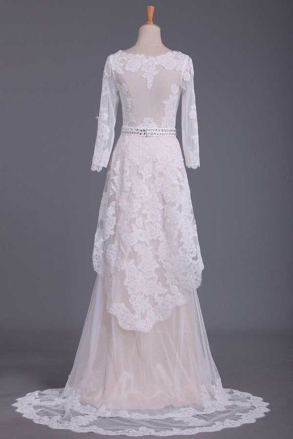 Asymmetrical Wedding Dresses V Neck Mid-Length Sleeves With Applique And Sash PS7XESGJ