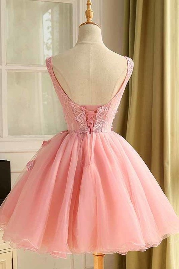 A Line Scoop Homecoming Dresses Tulle With Applique PA1QAAGD