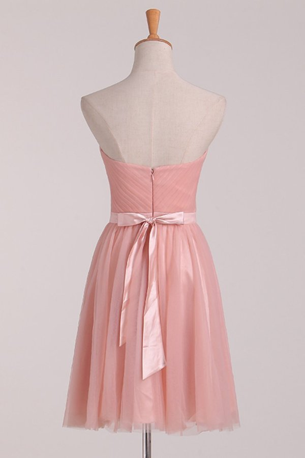 A Line Bridesmaid Dresses Sweetheart With Ruffles And Sash Tulle PCLYB878