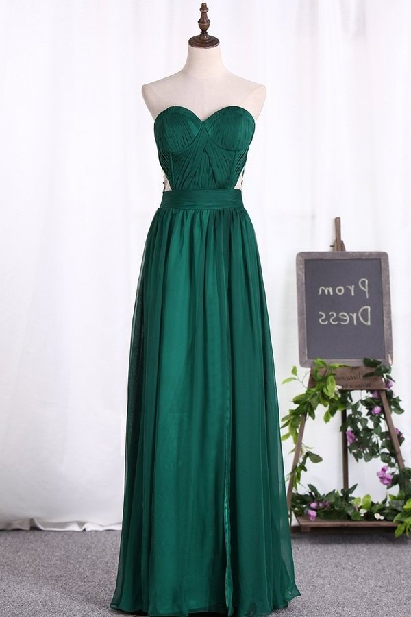 A Line Prom Dresses Chiffon Sweetheart With Applique PDNK54QK