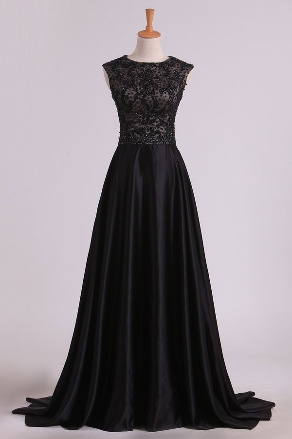 2020 A Line Prom Dresses Scoop Cap Sleeves Floor Length PAXZ31A5
