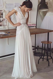 Unique V Neck Cap Sleeves Chiffon Beach Wedding Dress With Beading STGPGG9HAF7