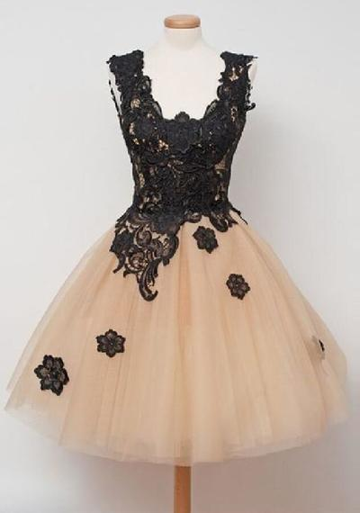 Off-the-Shoulder Black Lace Sweet 16 dresses Lace Prom Dresses