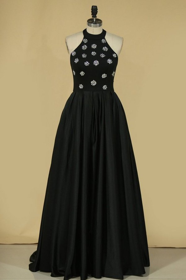 A Line High Neck Satin With Beading Sweep Train Prom PE4YA7SC