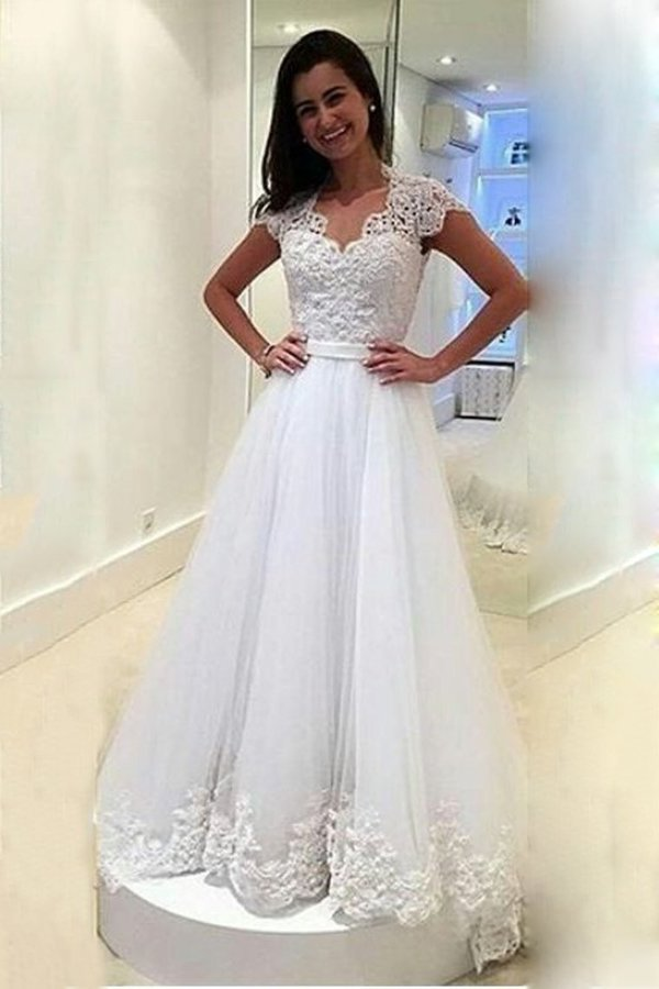 2020 A Line V Neck Wedding Dresses Tulle With Applique And Sash PQ6RAGYK