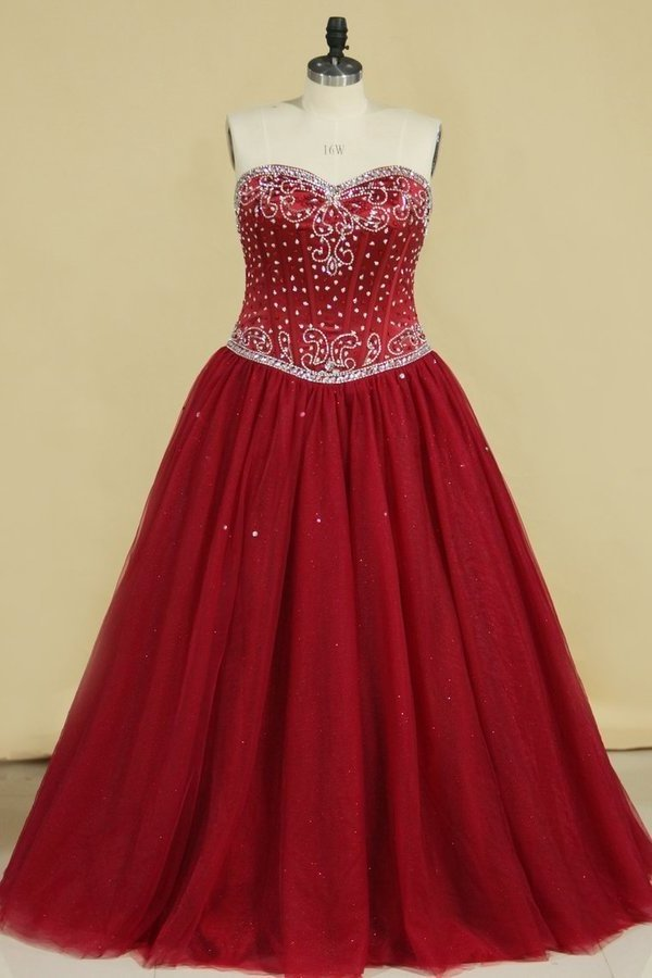 Ball Gown Sweetheart Tulle With Beading P6Z5E3QL
