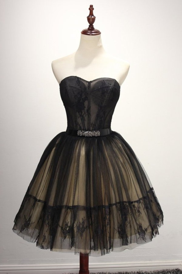 A Line Homecoming Dresses Sweetheart Tulle With Applique P7N22GX1