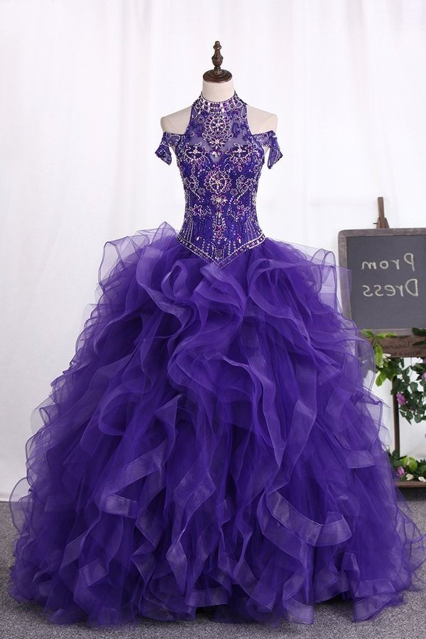 Ball Gown Tulle Quinceanera Dresses High Neck Beaded Bodice PGL266P6