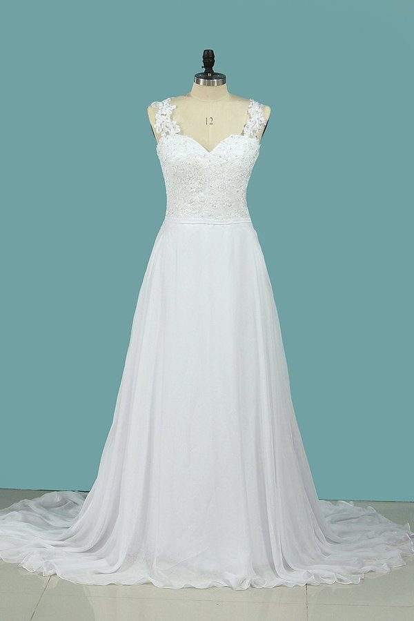 A Line Straps Wedding Dresses Chiffon With Applique P3G85RYF