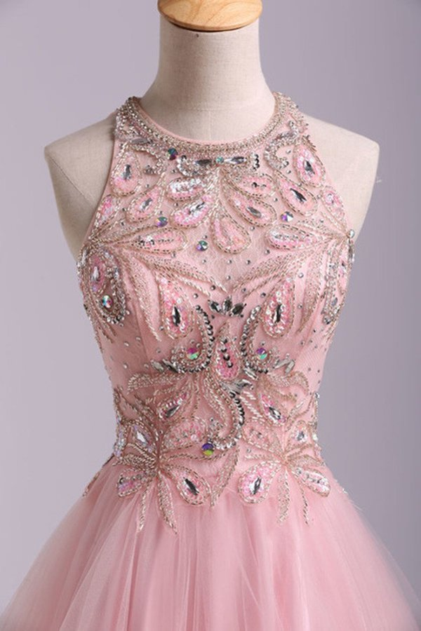 2020 Stunning A Line Short/Mini Prom Dress Tulle With Beaded Lace Bodice Open PNH1RH4H