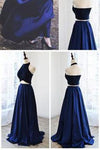 Newest Halter A-Line Two Piece Simple Navy Blue Satin Backless Sleeveless Evening Dresses