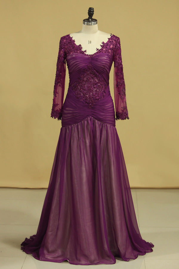Grape V Neck Long Sleeves Mermaid Evening Dresses Chiffon With Applique And PBGN5949