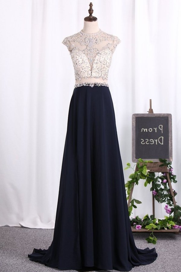 2020 A Line Prom Dresses Scoop Chiffon & Tulle With Beaded Bodice PAF837NS