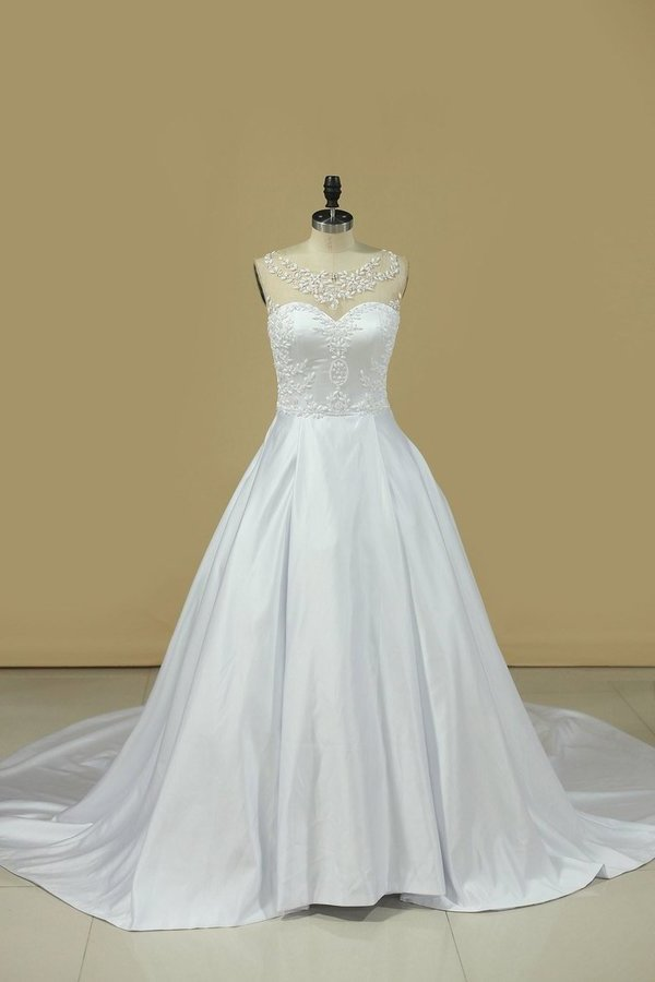 A Line Scoop Wedding Dresses Satin With Beading PLM29JXD